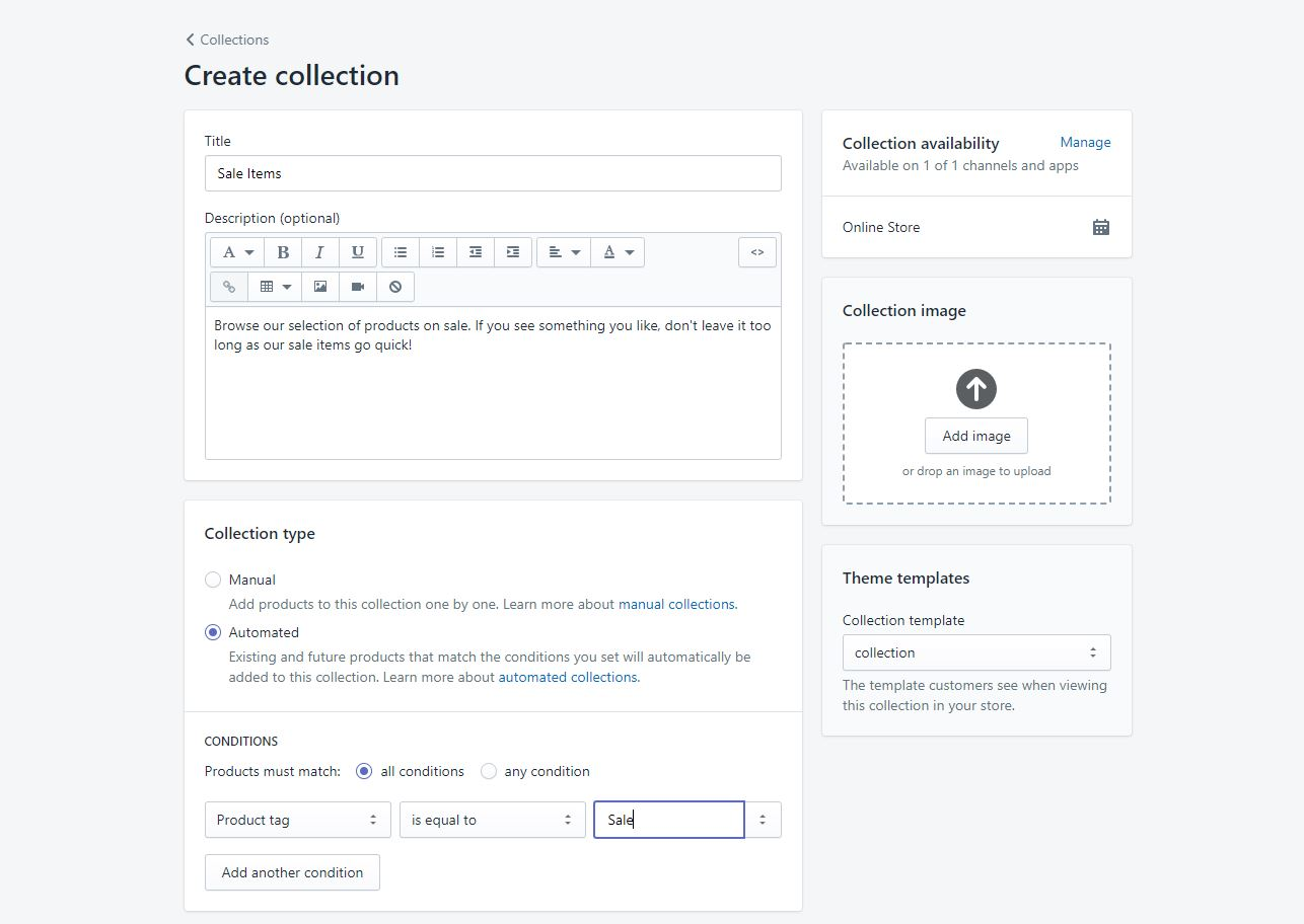Setting up a Sale collection in Shopify